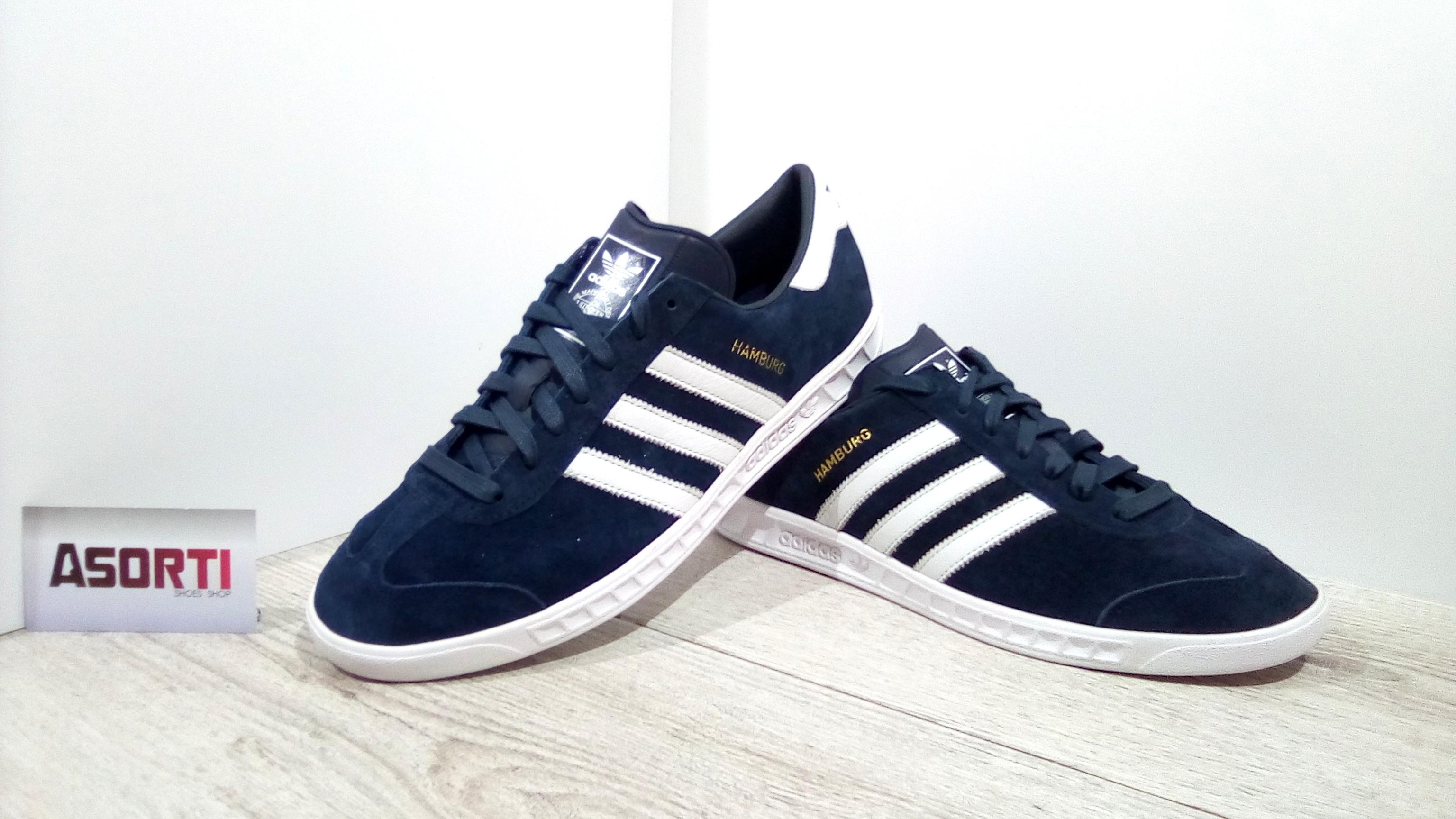 52cc89a05dd63f Чоловічі кросівки Adidas Originals Hamburg (S74838) темно-сині ...