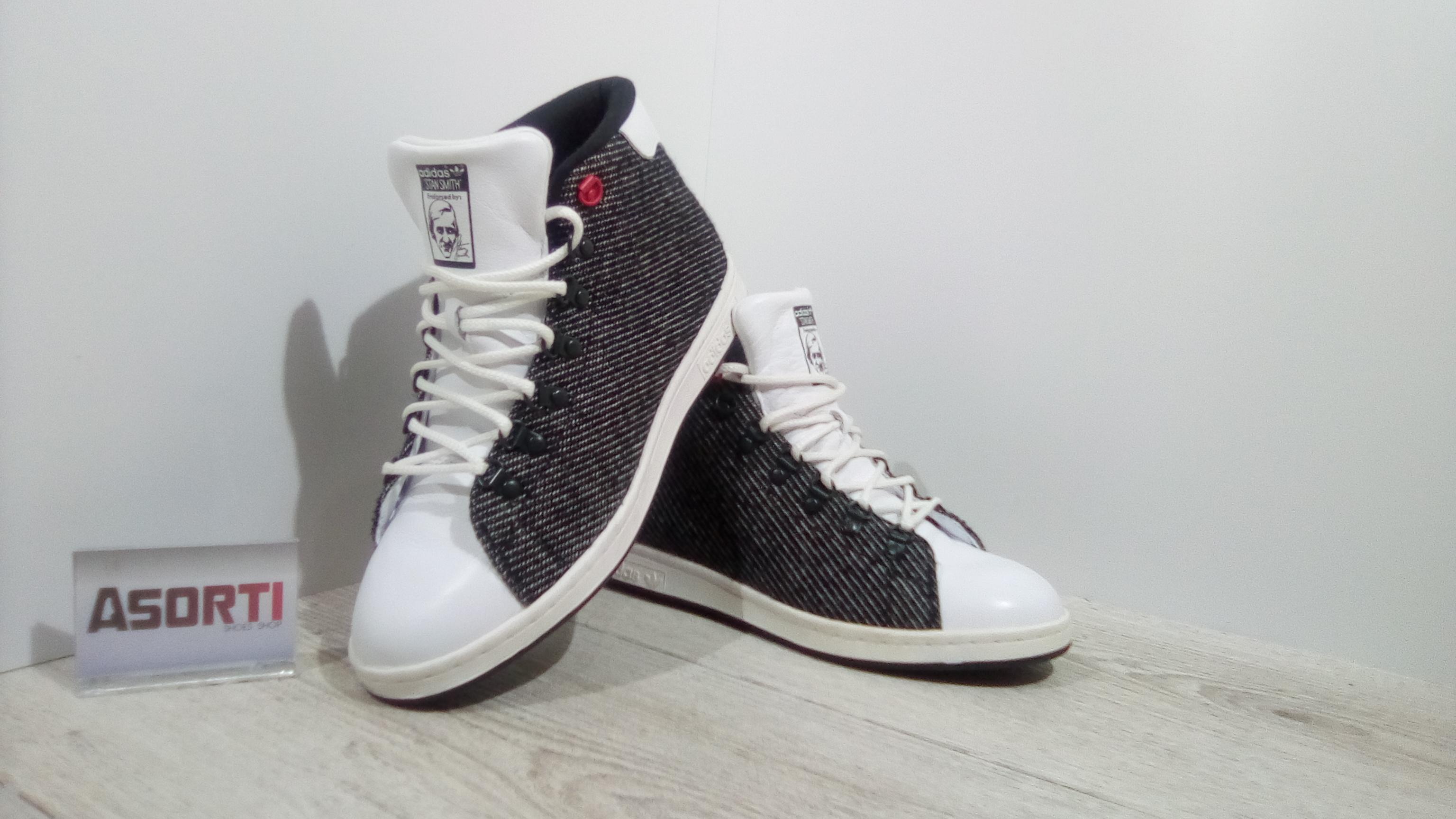super popular 43723 994d3 Мужские зимние кроссовки Adidas Stan Smith Winter MID (B24879) черно-белые